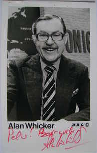Alan Whicker autograph (hand-signed photograph, dedicated)