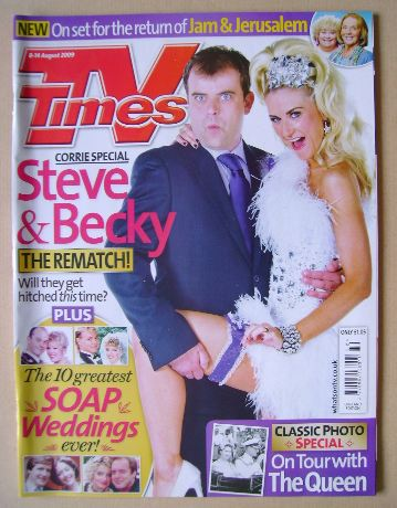 <!--2009-08-08-->TV Times magazine - Simon Gregson and Katherine Kelly cove