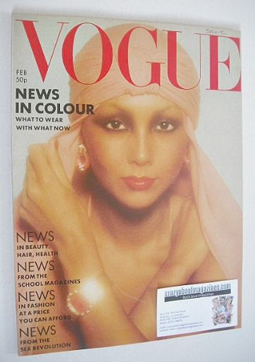 <!--1976-02-->British Vogue magazine - February 1976 - Marie Helvin cover