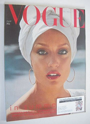 <!--1975-07-->British Vogue magazine - July 1975 - Jerry Hall cover