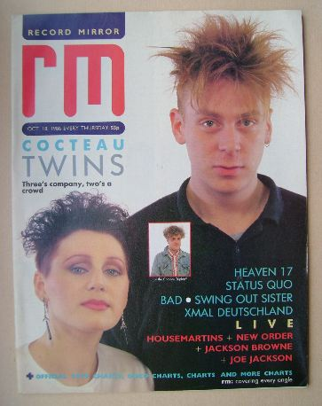 <!--1986-10-18-->Record Mirror magazine - Cocteau Twins cover (18 October 1
