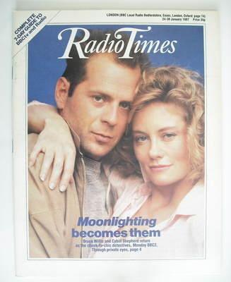 <!--1987-01-24-->Radio Times magazine - Bruce Willis and Cybill Shepherd co