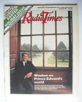 Radio Times magazine - Prince Edward cover (18-24 April 1987)