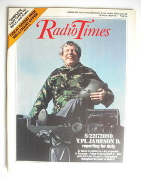 Radio Times magazine - Derek Jameson cover (28 March - 3 April 1987)
