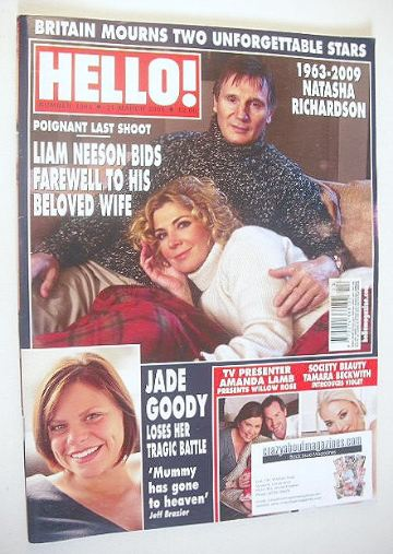 <!--2009-03-31-->Hello! magazine - Liam Neeson and Natasha Richardson cover