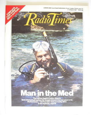 <!--1987-03-07-->Radio Times magazine - David Attenborough cover (7-13 Marc