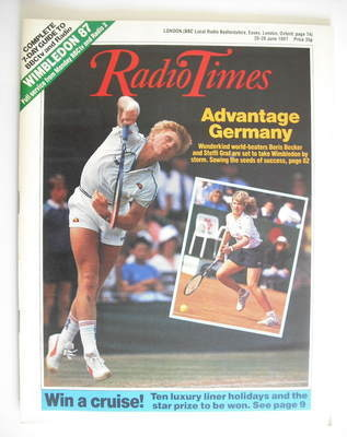 <!--1987-06-20-->Radio Times magazine - Boris Becker cover (20-26 June 1987