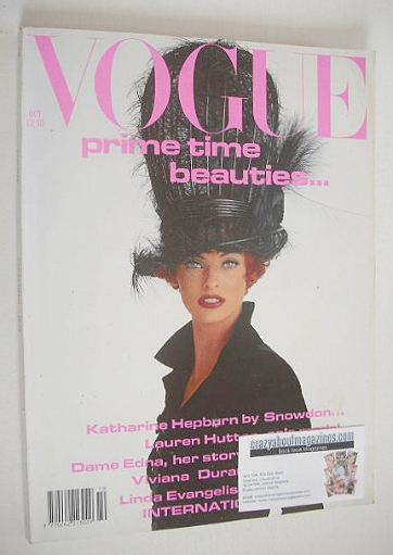 <!--1991-10-->British Vogue magazine - October 1991 - Linda Evangelista cov