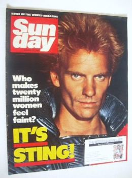 Sunday magazine - 29 January 1984 - Sting cover