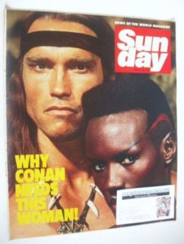 Sunday magazine - 18 March 1984 - Arnold Schwarzenegger and Grace Jones cover