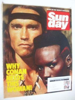 Sunday magazine - 18 March 1984 - Arnold Schwarzenegger and Grace Jones cover