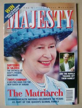 Majesty magazine - The Queen cover (October 1999 - Volume 20 No 10)
