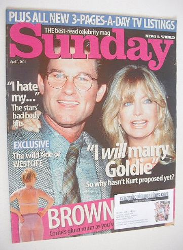 <!--2001-04-01-->Sunday magazine - 1 April 2001 - Kurt Russell and Goldie H