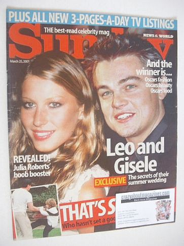 <!--2001-03-25-->Sunday magazine - 25 March 2001 - Leonardo DiCaprio and Gi