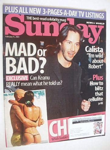 <!--2001-02-11-->Sunday magazine - 11 February 2001 - Keanu Reeves cover