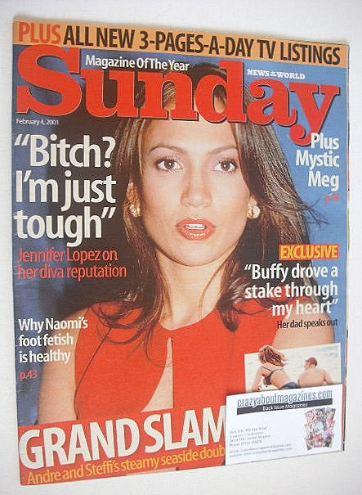 <!--2001-02-04-->Sunday magazine - 4 February 2001 - Jennifer Lopez cover