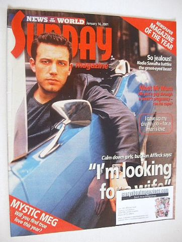 <!--2001-01-14-->Sunday magazine - 14 January 2001 - Ben Affleck cover