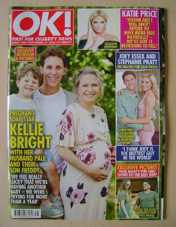 <!--2016-09-27-->OK! magazine - Kellie Bright and Family cover (27 Septembe
