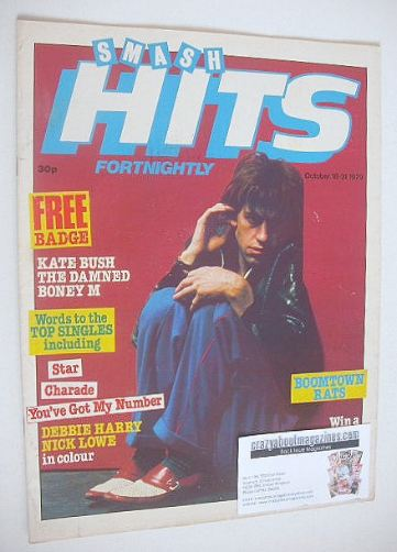 <!--1979-10-18-->Smash Hits magazine - Bob Geldof cover (18-31 October 1979
