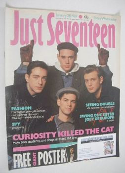Just Seventeen magazine - 28 January 1987 - Curiosity Killed The Cat cover