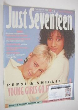 Just Seventeen magazine - 4 February 1987 - Pepsi and Shirlie cover