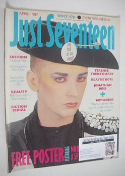 Just Seventeen magazine - 1 April 1987 - Boy George cover