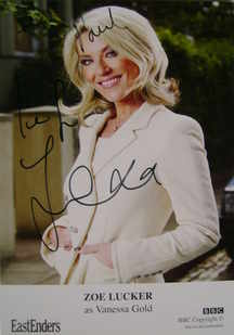 Zoe Lucker autograph (EastEnders actor)