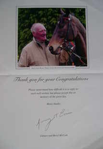 Ginger McCain autograph (Racehorse Trainer)