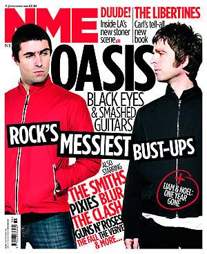<!--2010-09-11-->NME magazine - Oasis cover (11 September 2010)