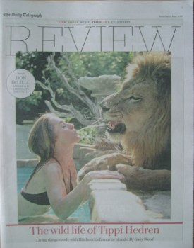 The Daily Telegraph Review newspaper supplement - 11 June 2016 - Tippi Hedren and Neil the Lion cover