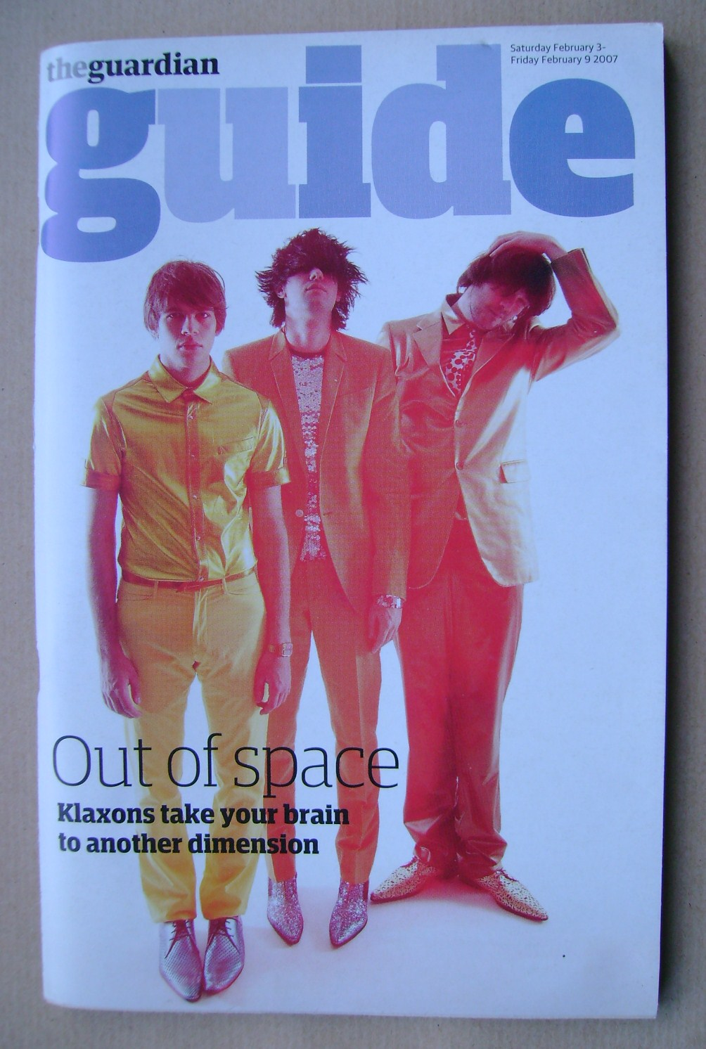 <!--2007-02-03-->The Guardian Guide magazine - Klaxons cover (3 February 20