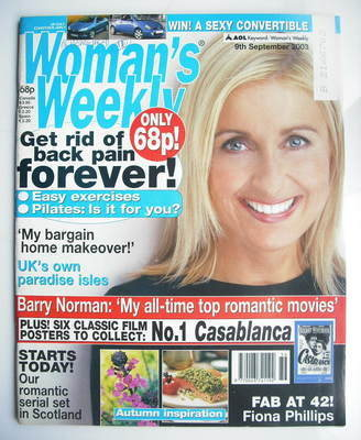 <!--2003-09-09-->Woman's Weekly magazine (9 September 2003 - Fiona Phillips