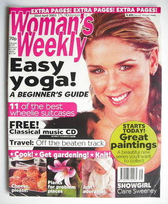 <!--2003-04-22-->Woman's Weekly magazine (22 April 2003 - Claire Sweeney co