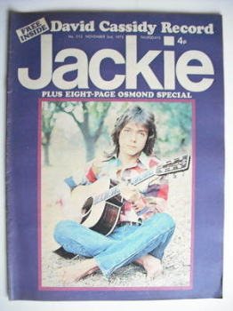 Jackie magazine - 3 November 1973 (Issue 513 - David Cassidy cover)