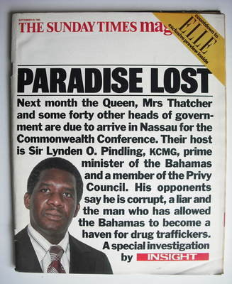<!--1985-09-29-->The Sunday Times magazine - Paradise Lost cover (29 Septem