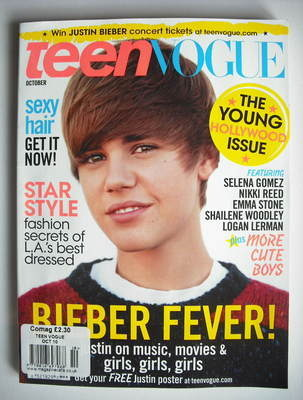 <!--2010-10-->Teen Vogue magazine - October 2010 - Justin Bieber cover
