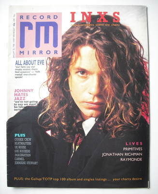 <!--1988-01-30-->Record Mirror magazine - Michel Hutchence cover (30 Januar