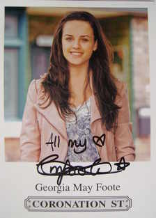 Georgia May Foote autograph (hand-signed Katy Armstrong cast card)