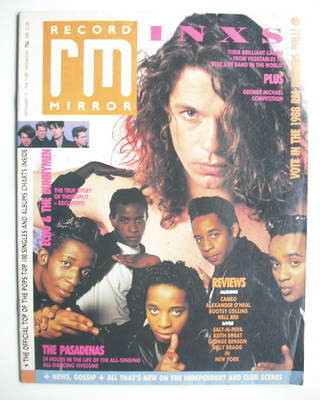 <!--1988-11-19-->Record Mirror magazine - Michael Hutchence cover (19 Novem