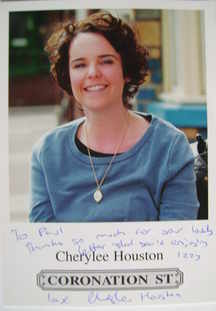Cherylee Houston autograph (Coronation Street actor)