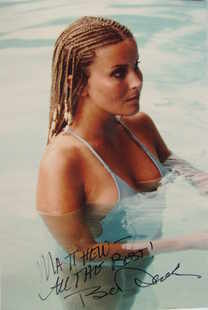 Bo Derek autograph (hand-signed photograph, dedicated)