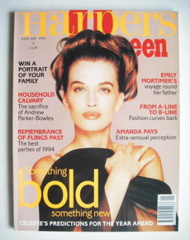 British Harpers & Queen magazine - January 1995 - Amanda Pays cover