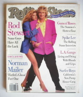 <!--1991-07-11-->Rolling Stone magazine - Rod Stewart and Rachel Hunter cover (11-25 July 1991 - Issue 608/609)