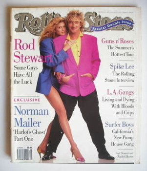 Rolling Stone magazine - Rod Stewart and Rachel Hunter cover (11-25 July 1991 - Issue 608/609)