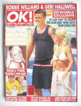 OK! magazine - Robbie Williams and Geri Halliwell cover (2 March 2001 - Issue 253)