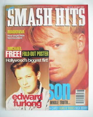 <!--1992-07-08-->Smash Hits magazine - Jason Donovan cover (8-21 July 1992)