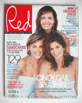 Red magazine - February 2003 - Yasmin Le Bon, Gail Elliott and Cindy Crawford cover