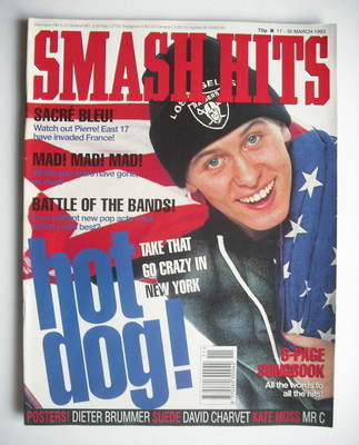 <!--1993-03-17-->Smash Hits magazine - Mark Owen cover (17-30 March 1993)