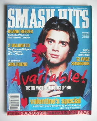 <!--1993-02-03-->Smash Hits magazine - David Charvet cover (3-16 February 1
