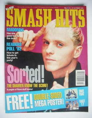 <!--1992-10-14-->Smash Hits magazine - The Shamen cover (14-27 October 1992
